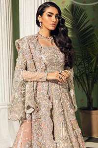 Burning sand Blouse Can-Can Lehengha Scalloped Dupatta