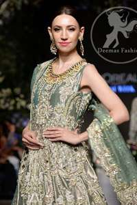 camouflage green Cutwork Frock Sharara