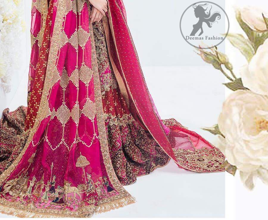 This regal mexican red frock is an immensely captivating traditional piece, enhancing the art of classical heritage showcasing the craftsmanship of kora, dabka & mukesh detailed with pearls; artistically embellished to give a beautiful rhythm to the outfit. It is coordinated with sandy brown chiffon lehenga which is decorated with geometric pattern style embroidery. This outfit comprises with mexican red dupatta enhanced with motifs from pallu and the other two sides having heavily embellished border.