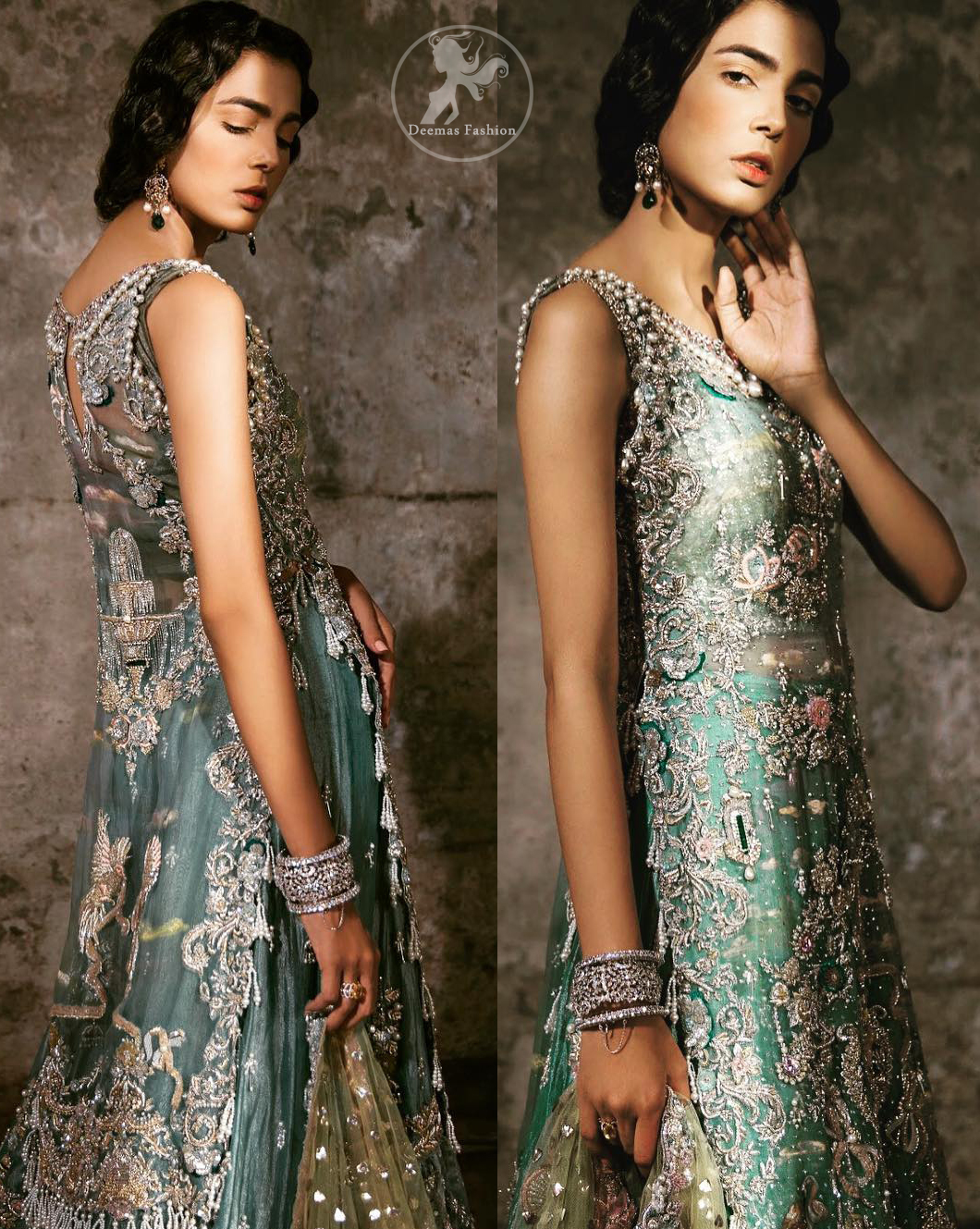 Delicately crafted and personifying chic elegance with an element of grandiose. Heavily embellished in the front with intricate embroidered pattern done with golden and silver kora, dabka, kundan, tilla and sequins. It is further decorated with scalloped boder which having tassels to complete the look. The back of the shirt is embellished with different types of motifs. It comes with matching sharara sprinkled small motifs all over. It is coordinated with olive green chiffon dupatta which is sprinkled with sequins all over it.
