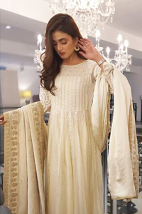 Off White Floor Length Frock Pajama Dupatta