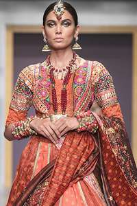 Rust Blouse Lehenga & Chocolate Brown Dupatta