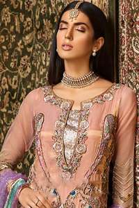 Salmon Pink Shirt Ivory Sharara & Light Purple Dupatta