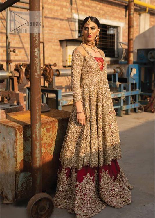 Latest Pakistani Bridal Wear - Golden Embroidered Frock Red Wine Lehenga