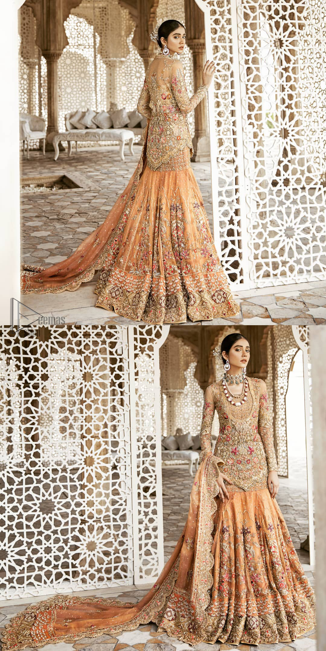 Beautifully elegant with a modern twist. Adorned in an orange embellished with antique detailing all over, this undeniably elegant attire will elevate your style. The shirt is ornamented with antique zardozi and multiple color embroidery detailing all over and vibrant floral motifs. Furthermore the hemline of the shirt is in cutwork style which adds twist. Paired it up with heavily embellished lehenga. The dupatta incorporates beautifully designed scalloped borders on all four sides, focusing on the heavily embellished pallu borders to give it a perfect look.