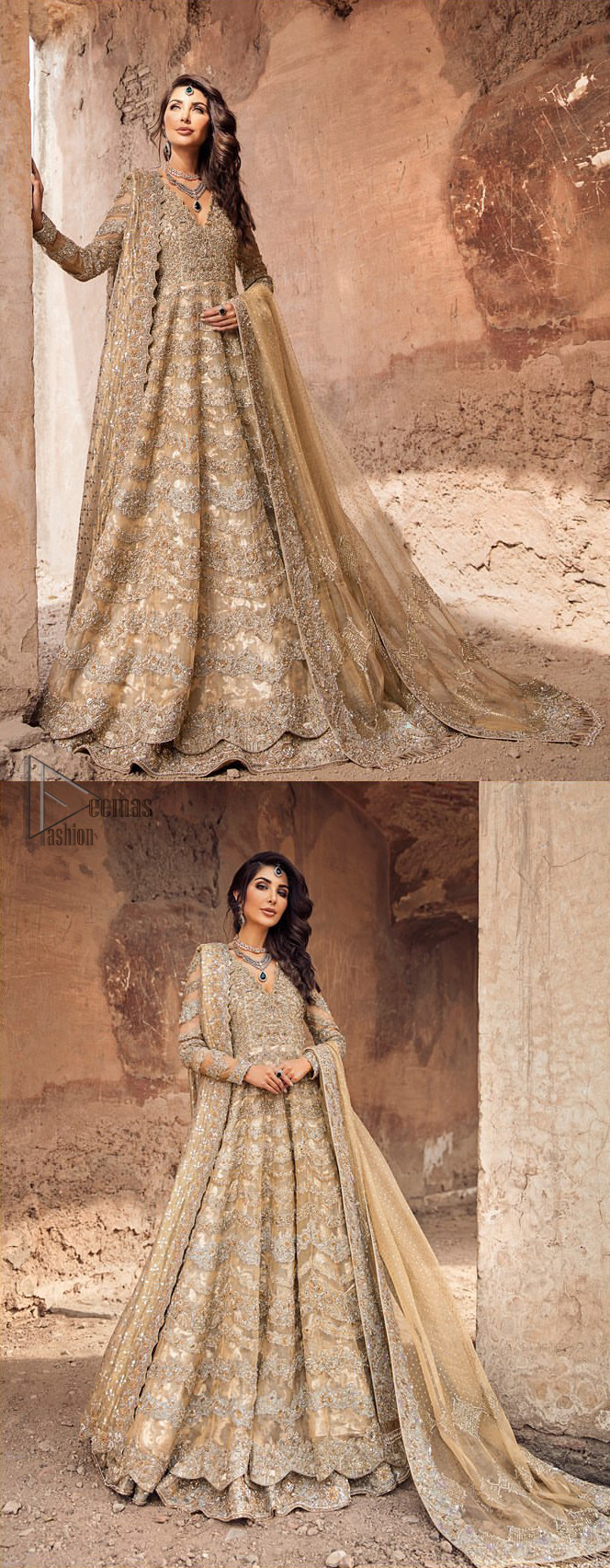 This artisanal piece is rendered in grace and timelessness. The floor length maxi highlights the collision of heritage and beauty of traditional zardozi work and craftsmanship with modern chic silhouette. The bodice with plunging V-neckline is adorned in richly zardozi work with fabulous sparkle. It boasts a pretty scallop hemline. The lehnga is done with thick kora and dabka borders to completes the look. This outfit is comprises with chiffon dupatta sprinkled with sequins on the ground and and four sided border.