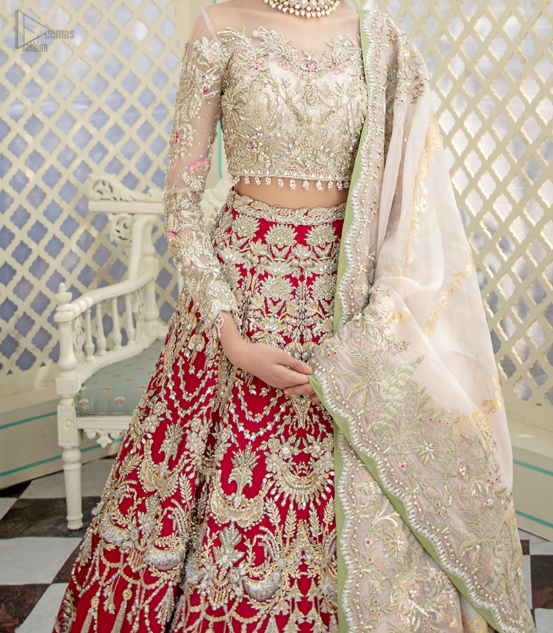 The lehenga is an amalgamation of a variety of our signature motifs, fine materials, and traditional yet contemporary silhouettes.