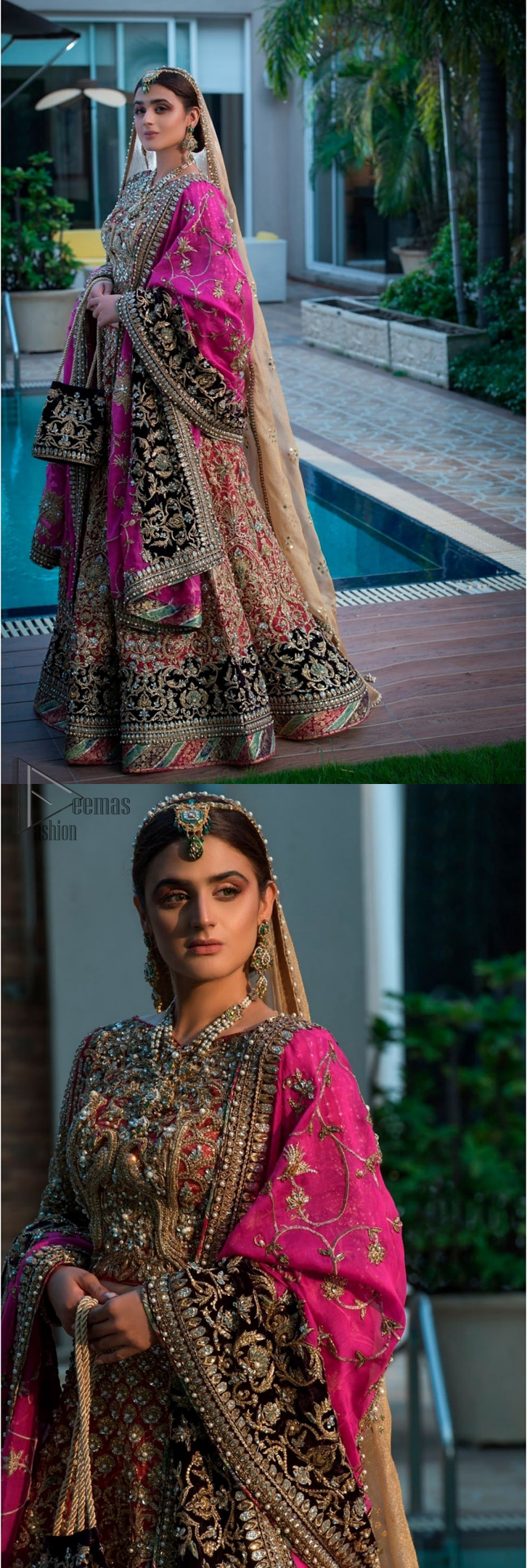 Complete your big day with the perfect dress in our selection of stunning wedding dresses. This regal lehenga blouse is an immensely captivating traditional piece, enhancing the art of classical heritage showcasing the craftsmanship of kora, dabka, tilla and sequibs detailed with pearls, artistically embellished to give a beautiful rhythm to the outfit. The lehenga is adorned with golden and antique shaded embroidery. Furthermore the bottom of the lehenga is enhanced with black embellished applique. Coordinated with beige dupatta sprinkled with sequins all over.