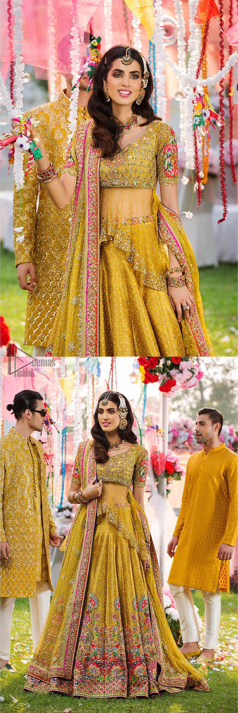 The perfect choice for Mahendi. Delicately crafted and personifying chic elegance with an element of grandiose. The shirt is emphasized with traditional neckline and a small back train. And the lehenga is decorated with intricate floral daaman enhanced with multiple color thread embroidery and rich zardozi work. Paired it up with yellow net dupatta sprinkled with sequins on the ground and four sided applique border.