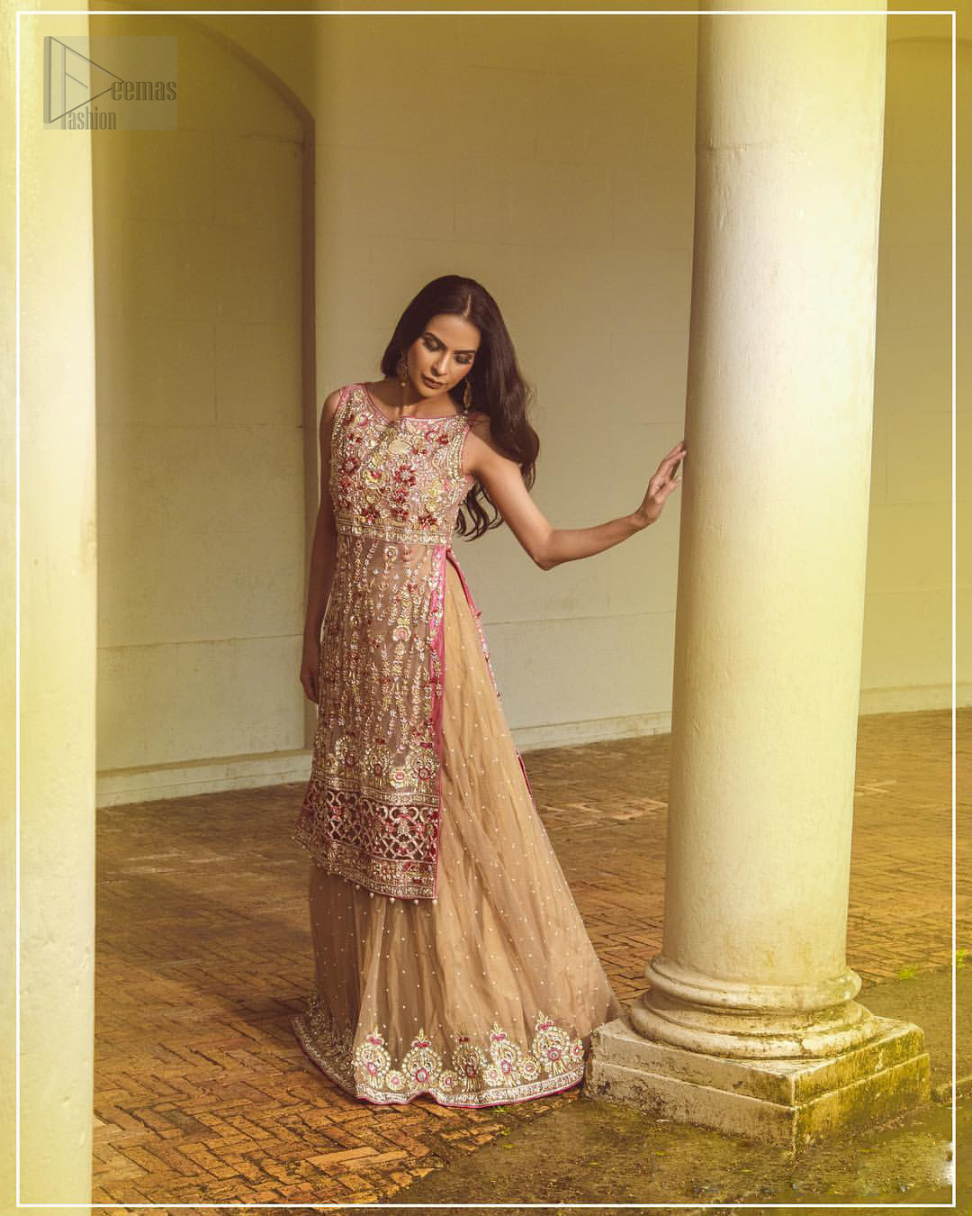 Steal the show with this endearing chiffon outfit with intricate yet rich embroidery. Crafted artfully with detailed multiple color thread embroidery on the bodice and traditional finessed work with kora, dabka, tilla and sequins. Hemline is intricately done with cut work and dangling balls, rest of the shirt is enhanced with floral bunches. Pair it up with fawn lehenga emphasized with different sized circular embroidered motifs at the bottom done with zardozi work to gave it a perfect look. Pair it up with fawn dupatta having four sided embellished borders and sprinkled with sequins all over the ground.