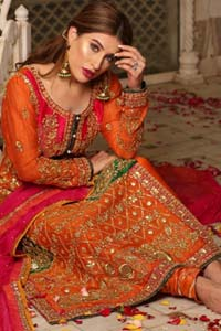 Get bold and beautiful with this uber-stylish ensemble that has flattering cuts, and a colour palette that is bewitching. This orange long shirt adorned with intricate tilla work, kora, dabka and sequins is perfect ensemble for mehndi. Furthermore the shirt is also highlighted with pink embellished bodice and rest of the shirt is enhanced with geometric gota embroidery and green applique instantly draws attention. It comprises with orange pajama adorned with gota work. Paired with pink chiffon dupatta with kiran lace finishing all around the edges that gives the right amount of glamour to the outfit.
