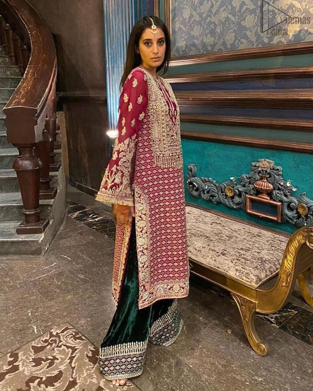 The new season is all about making a statement. An sensational affair so timeless and magnificent, beautifully crafted in hues of golden. Embellishd bodice with zardozi work and bell sleeves adorned with tassels finishing make the outfit more beautiful. Balance the look with bottle green palazzo pants highlighted with embroidered borders at the bottom and red organza dupatta with sequins spray all over. Craftmanship and skills you've never witnessed before.