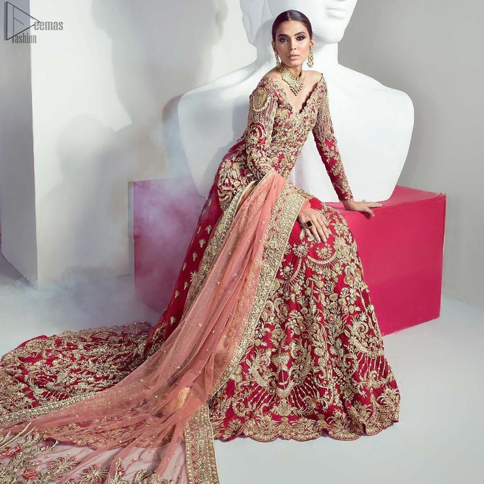 An example of beauty and elegance. Look breathtakingly stylish in this embroidered regalia furnished with an intricately fully embroidered back train Lehenga and Shirt.