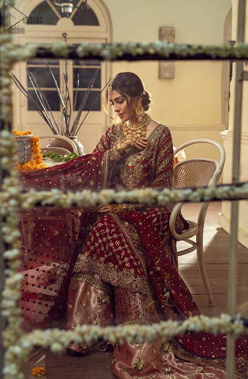 Red Strait Pakistani Bridal Shirt - Banarsi Tissue Sharara
