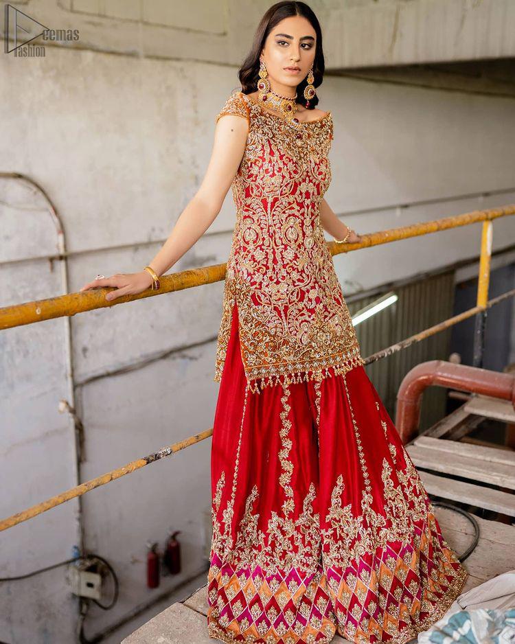 Red Off Shoulder Short Shirt - Chatta Patti Sharara n Dupatta