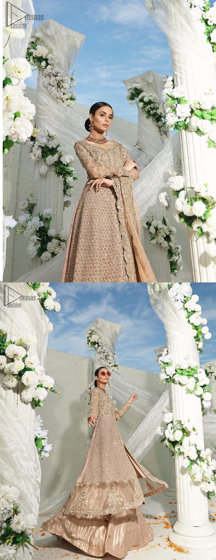 Fawn Front Open Gown Lehenga – Dupatta