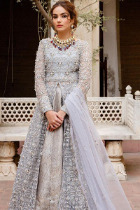 Light Gray Front Open Nikah Wear Maxi and Pure Katan Banarsi Jamawar Lehenga