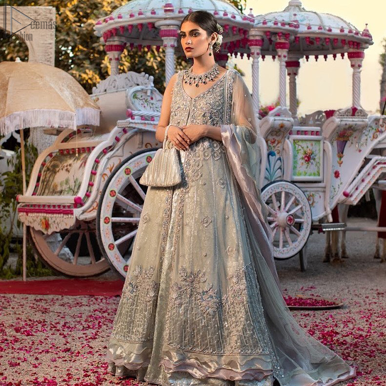 Light gray pure banarsi jamawar blouse, lehenga with front open long jacket having multiple layered frill.