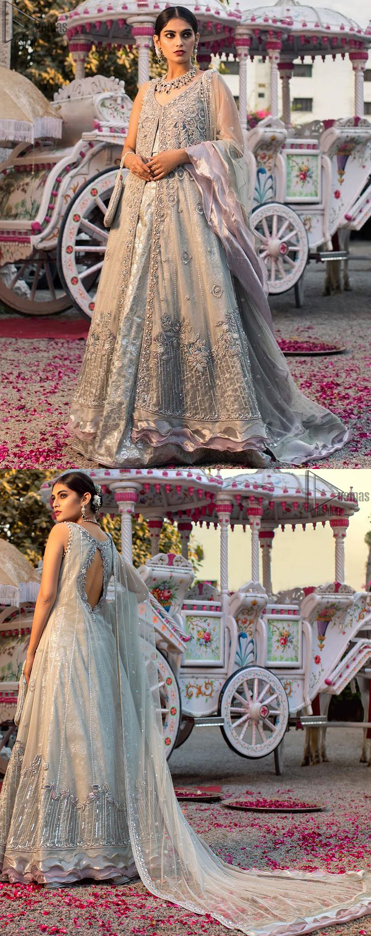 Light grey pure banarsi jamawar blouse, lehenga with the front open long jacket having multiple layered frills.