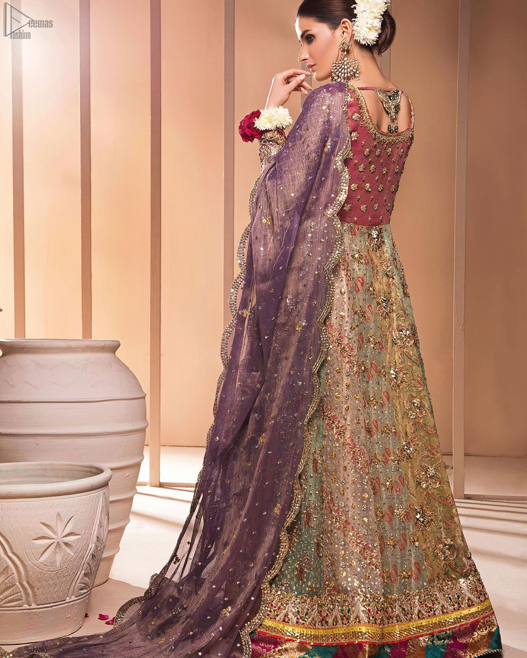Copper Rust Bodice Multiple Panel Frock - Light Purple Dupatta