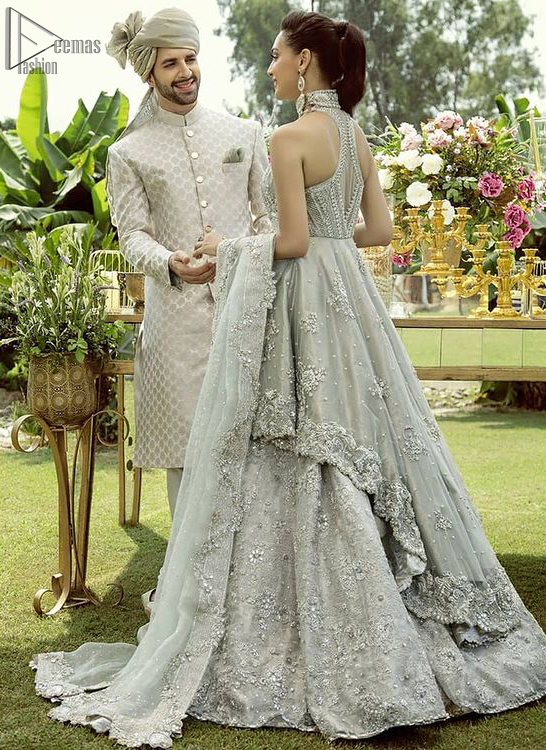 Pastel Green Back Train Peplum Lehenga – Dupatta. Elegance is personified when it gets paired up with a pastel green dupatta having chann and applique finishing all around the edges.