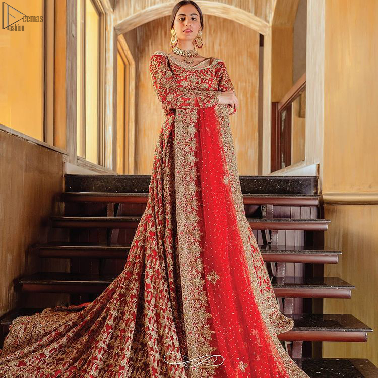 Red Off Shoulder Blouse - Back Train Lehenga n Dupatta for wedding