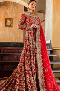 Red Off Shoulder Back Train Maxi-Dupatta