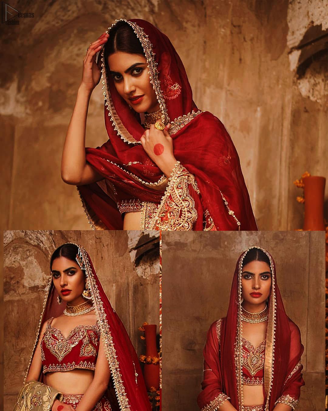 Red Sweetheart Blouse Lehenga Embroidered Dupatta