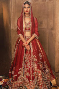 Red Sweetheart Blouse Lehenga Embroidered Dupatta