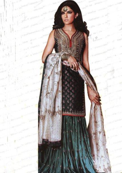 Pakistani Bridal Dress - Dark Green Sharara