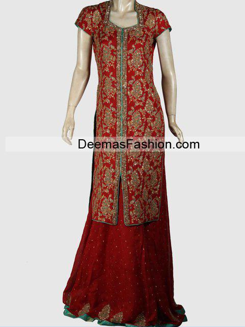 Latest Designer Wear Bridal Dress - Deep Red Sharara