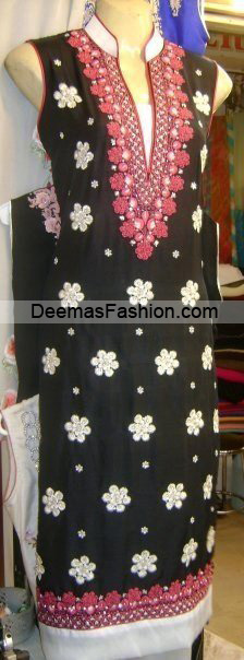 Pakistani Latest Fashion - Black white Embroidered Shirt