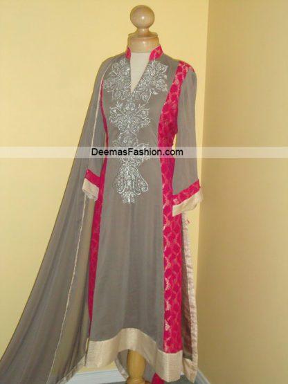 Latest Pakistani Trend - Grey Pink Frock