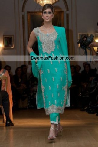 Pakistani Formal Wear Designer Dress - Sea Green Dress