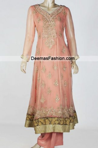 Latest Pakistani Fashion - Peach Anarkali Pishwas