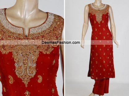 Latest Pakistani Formal Wear - Bright Red Dress
