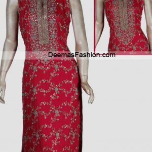 Latest Pakistani Designer Dress - Deep Red Formal Wear