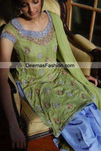 Pakistani Formal Wear Trend - Green Blue Dress