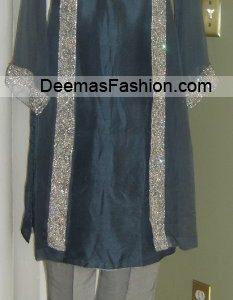 Pakistani Formal Wear Fashion - Grey Silver Dress