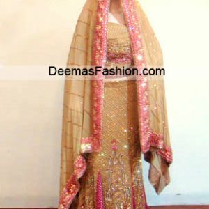 Pakistani Bridal Wear Dress - Light Golden Pink Lehnga
