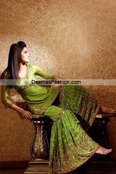 Pakistani Designer Wear Bridal Dress - Green Gharara