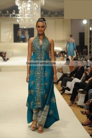 Pakistani Designer Wear Dress - Ferozi Blue Gown