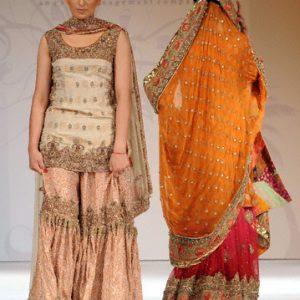 Pakistani Traditonal Bridal Wear - Peach Gharara