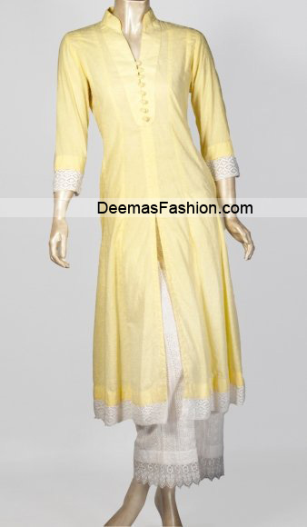 Latest Casual Trend - Yellow White Dress