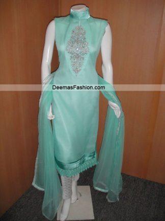 Pakistani Casual Dress - Ferozi Green Silver