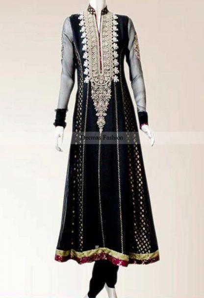 Black Anarkali Frock Churidar Dress