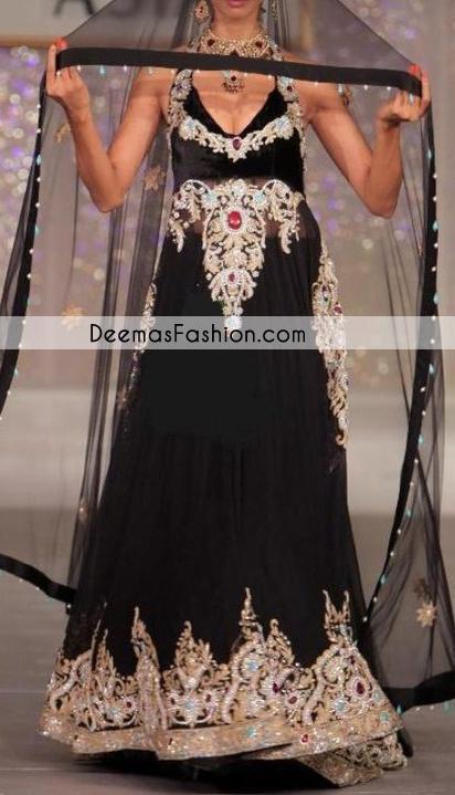 Black Heavy Formal Party Wear Pishwas Churidar