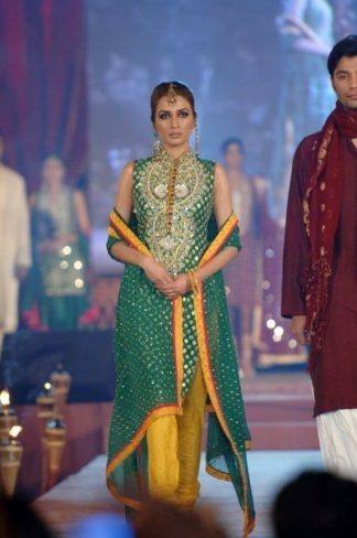 Latest Pakistani Fashion - Bottle Green Bridal Mehndi Wear Dress