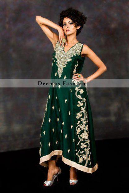 Bottle Green Aline Designer Dress