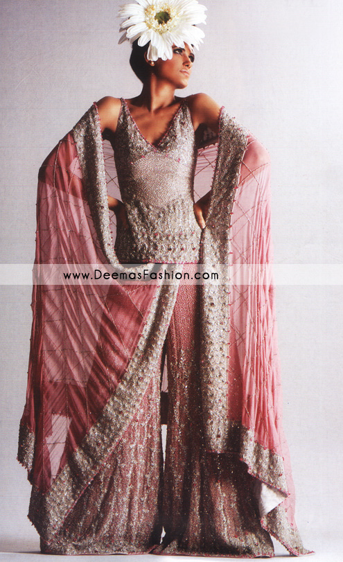 Bridal Wear Pakistani Gharara – Tea Pink Heavy Embroidered Dress